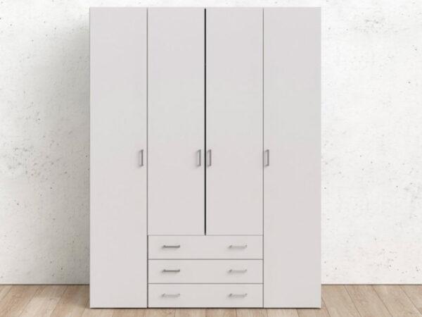 Armoire SPACIO 4 portes 3 tiroirs blanc