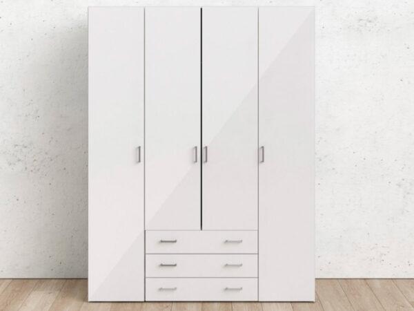 Armoire SPACIO 4 portes 3 tiroirs blanc/blanc brillant