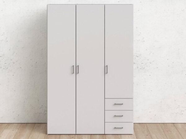 Armoire SPANO 3 portes 3 tiroirs blanc