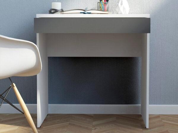Bureau FUNKY 1 tiroir blanc/gris