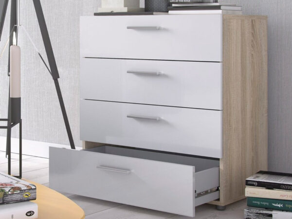 Commode PIMO 4 tiroirs chêne/blanc brillant