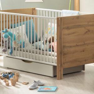 Lit bébé NEPTUNE 70x140 cm chêne wotan/blanc alpin