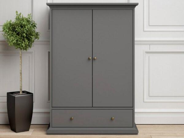 Armoire PARISA 2 portes 1 tiroir gris foncé