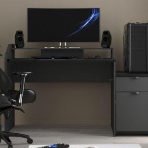 Bureau GAMER 154 cm gris ombre/noir