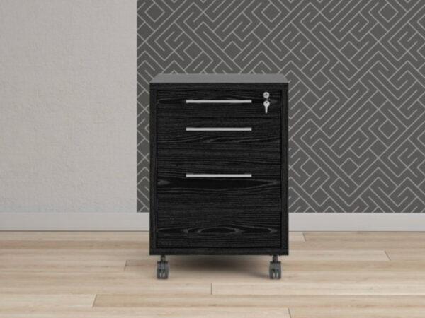 Caisson de bureau PRIMOZ 3 tiroirs frêne noir