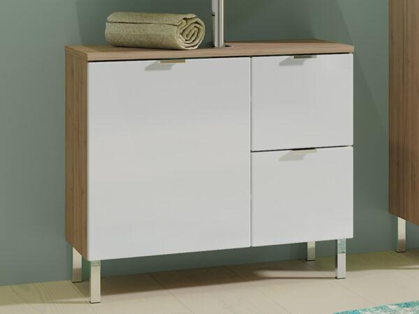 Meuble sous-lavabo MANAU 1 porte 2 tiroirs chêne grandson/blanc