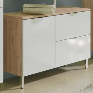 Meuble sous-lavabo MANAU 2 portes 1 tiroir chêne grandson/blanc