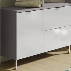 Meuble sous-lavabo MANAU 2 portes 1 tiroir graphite/blanc