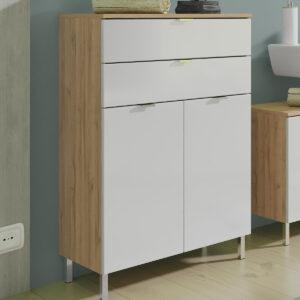 Commode MANAU 2 portes 2 tiroirs chêne grandson/blanc