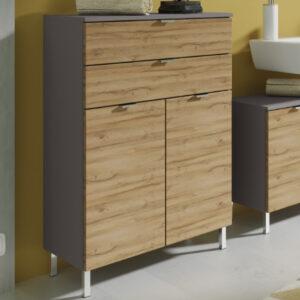 Commode MANAU 2 portes 2 tiroirs graphite/chêne grandson