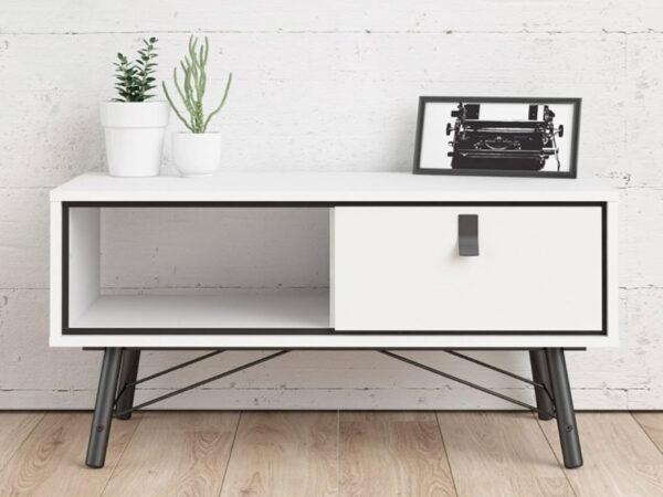 Table basse RYO 1 tiroir 1 niche blanc