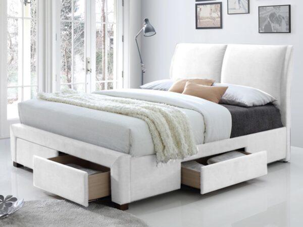 Lit SUELLO 160x200 cm eco-cuir blanc