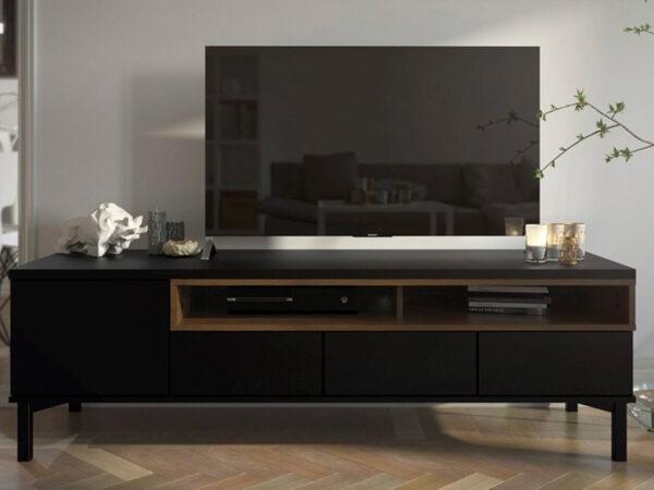Meuble tv-hifi ROMU 1 porte 3 tiroirs noyer/noir