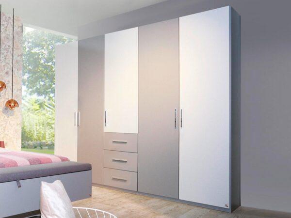 Armoire LOUISA 5 portes 3 tiroirs gris soie/blanc sans miroir