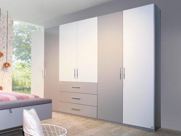 Armoire LOUISA 6 portes 3 tiroirs gris soie/blanc sans miroir