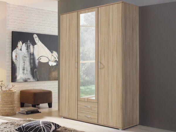 Armoire TWIST 3 portes 2 tiroirs avec miroir sonoma