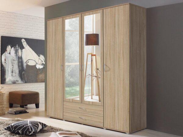 Armoire TWIST 4 portes 2 tiroirs avec miroir sonoma