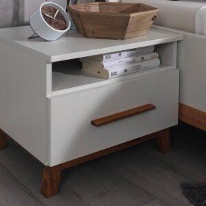 Chevet CARLINO 1 tiroir blanc/chêne massif