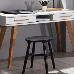 Bureau CARLINO 2 tiroirs blanc/chêne massif