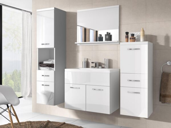 Salle de bain complète ALBATOR 6 portes 2 tiroirs blanc/blanc brillant avec vasque