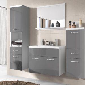 Salle de bain complète ALBATOR 6 portes 2 tiroirs blanc/gris brillant avec vasque