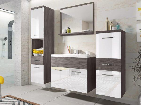 Salle de bain complète ALBATOR 6 portes 2 tiroirs pin bodega/blanc brillant avec vasque