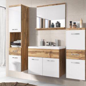 Salle de bain complète ALBATOR 6 portes 2 tiroirs wotan/blanc brillant avec vasque
