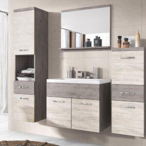 Salle de bain complète ALBATOR 6 portes 2 tiroirs chêne artwood/ribbec avec vasque
