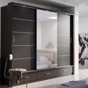 Armoire ARTEMIS 3 portes 3 tiroirs noir avec miroir