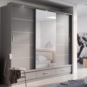 Armoire ARTEMIS 3 portes 3 tiroirs gris avec miroir