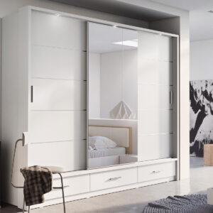 Armoire ARTEMIS 3 portes 3 tiroirs blanc avec miroir