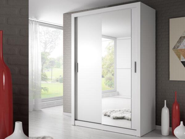 Armoire ARTIFICE 2 portes coulissantes blanc avec miroir
