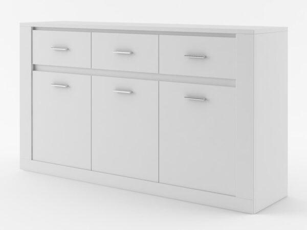 Commode ARTI 3 portes 3 tiroirs blanc