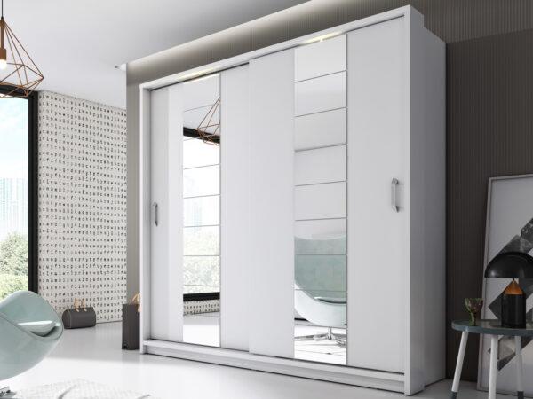 Armoire ARTUNA 2 portes coulissantes blanc avec miroir