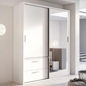 Armoire ARTENO 2 portes coulissantes 2 tiroirs blanc avec miroir