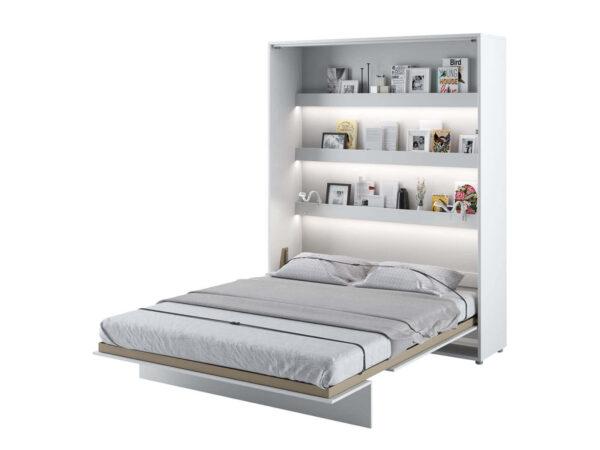 Lit mural escamotable CONCEPTION PRO 120x200 cm blanc/blanc brillant (vertical) sans armoires avec matelas