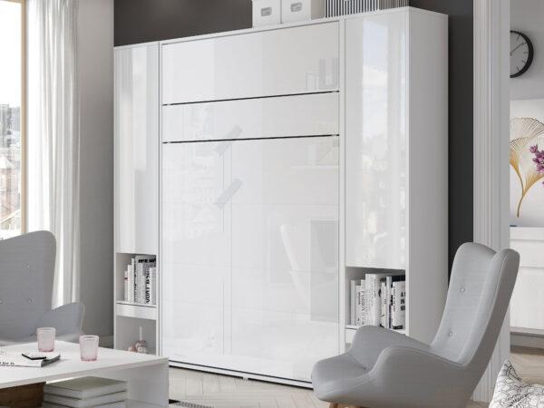 Lit mural escamotable CONCEPTION PRO 180x200 cm blanc/blanc brillant (vertical) avec armoires