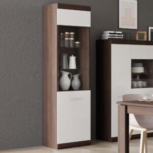 Vitrine BORDOLAIS 2 portes 1 tiroir chocolat sonoma chêne/blanc brillant