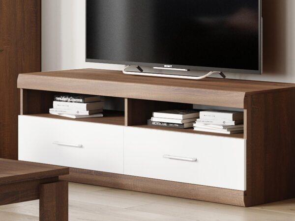 Meuble TV BORDOLAIS 2 niches 2 tiroirs chocolat sonoma chêne/blanc brillant