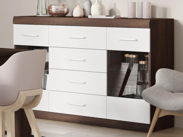 Commode BORDOLAIS 4 tiroirs 2 portes chocolat sonoma chêne/blanc brillant