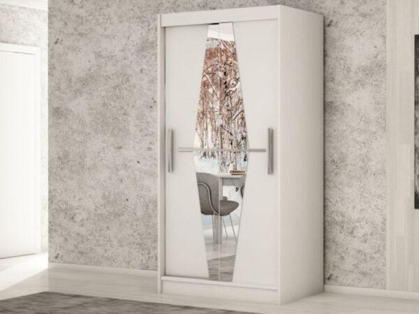 Armoire BOLIVAR 2 portes coulissantes 120 cm blanc