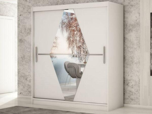 Armoire BOLIVAR 2 portes coulissantes 180 cm blanc