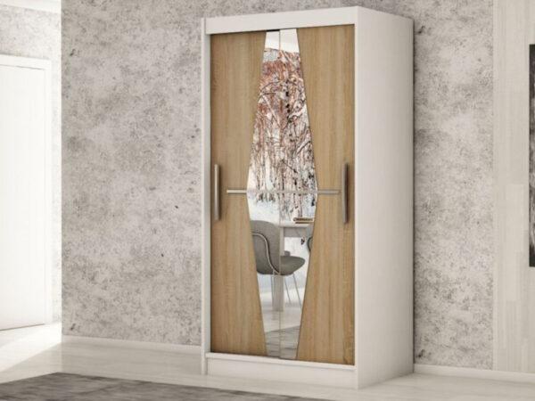 Armoire BOLIVAR 2 portes coulissantes 100 cm blanc/sonoma