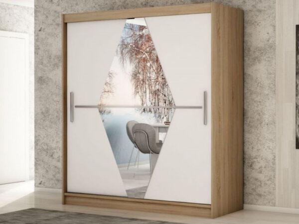 Armoire BOLIVAR 2 portes coulissantes 150 cm sonoma/blanc
