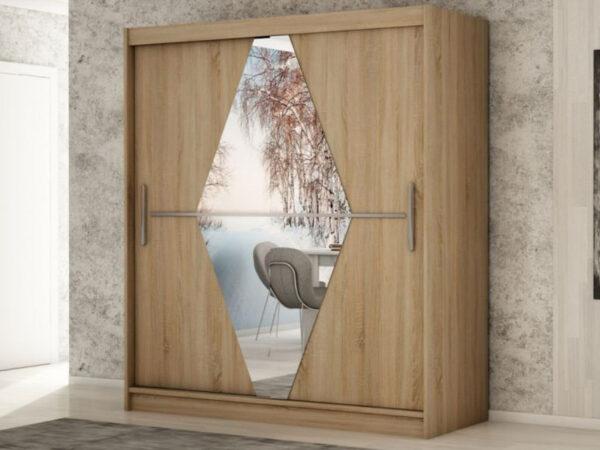 Armoire BOLIVAR 2 portes coulissantes 150 cm sonoma