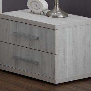 Chevet ERULA 2 tiroirs chêne clair grisé
