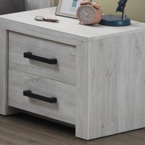 Chevet ELVITALIC 2 tiroirs chêne blanchi