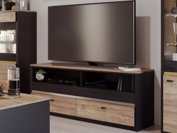 Meuble tv-hifi BELINI 2 tiroirs 2 niches chêne versal/noir