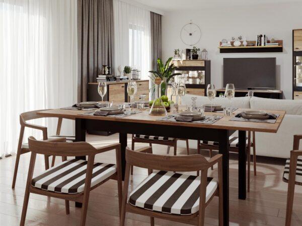 Table repas extensible BELINI 160 > 200 cm chêne versal/noir