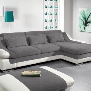 Canapé convertible ADAMOB avec méridienne droite tissu et éco-cuir pierre gris/blanc